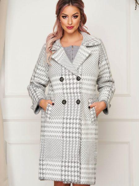 Palton  gri elegant din lana cu croi larg in carouri