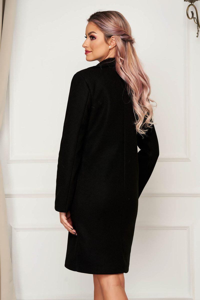 Palton negru office din stofa cu un croi drept si buzunare -