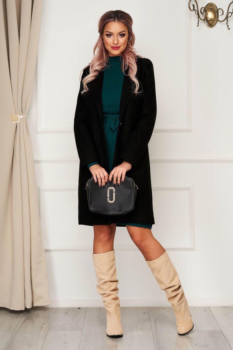 Palton  negru office din stofa cu un croi drept si buzunare