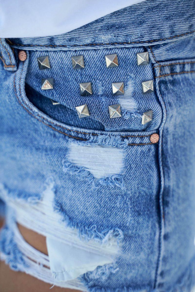 Pantalon scurt albastru casual cu talie medie din bumbac neelastic cu tinte metalice -