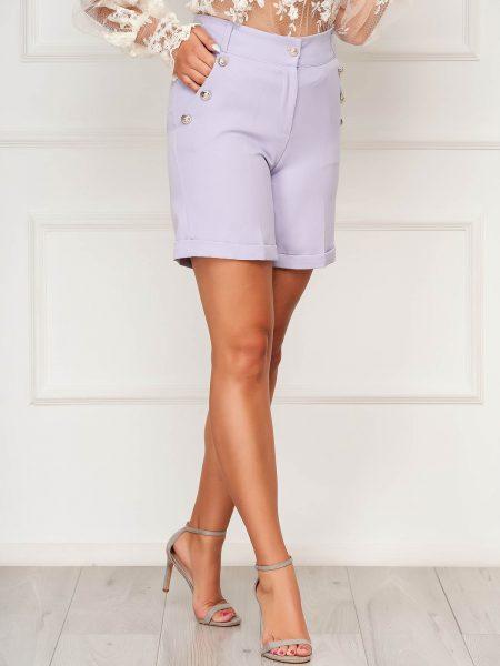 Pantalon scurt  lila casual mulat din stofa elastica cu buzunare