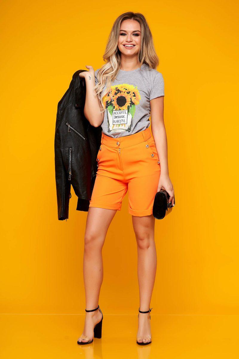 Pantalon scurt portocaliu casual mulat din stofa elastica cu buzunare -