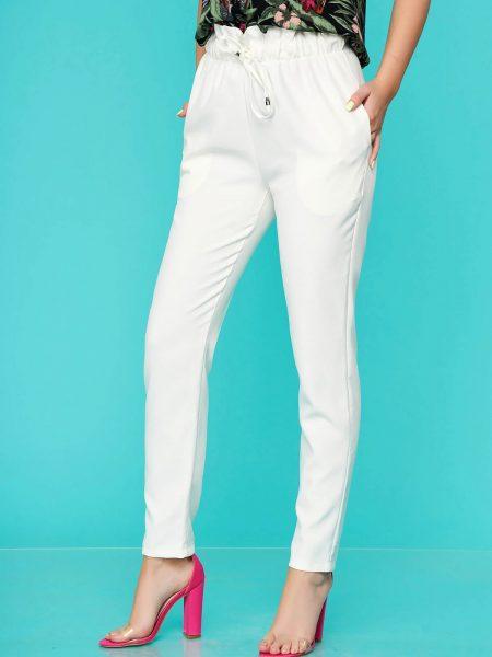 Pantaloni  albi casual din material subtire cu elastic in talie si buzunare