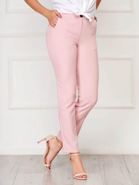 Pantaloni  roz office din stofa cu un croi drept cu buzunare