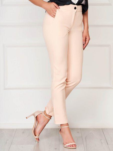Pantaloni  roz prafuit office din stofa cu un croi drept cu buzunare