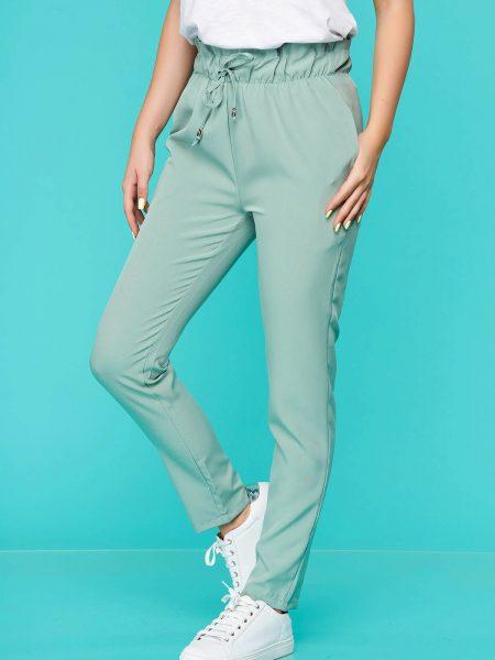 Pantaloni  verde-deschis casual din material subtire cu elastic in talie si buzunare