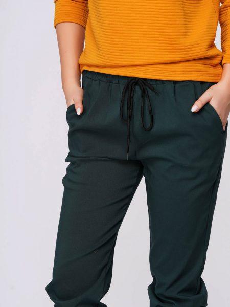 Pantaloni  verzi casual material subtire cu buzunare cu talie medie