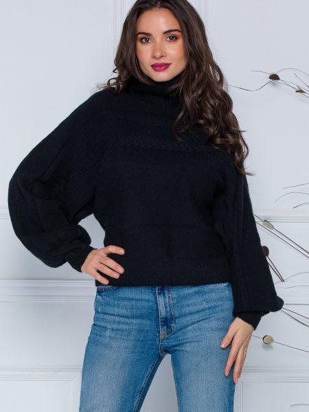 Pulover Dory scurt negru din tricot cu guler inalt