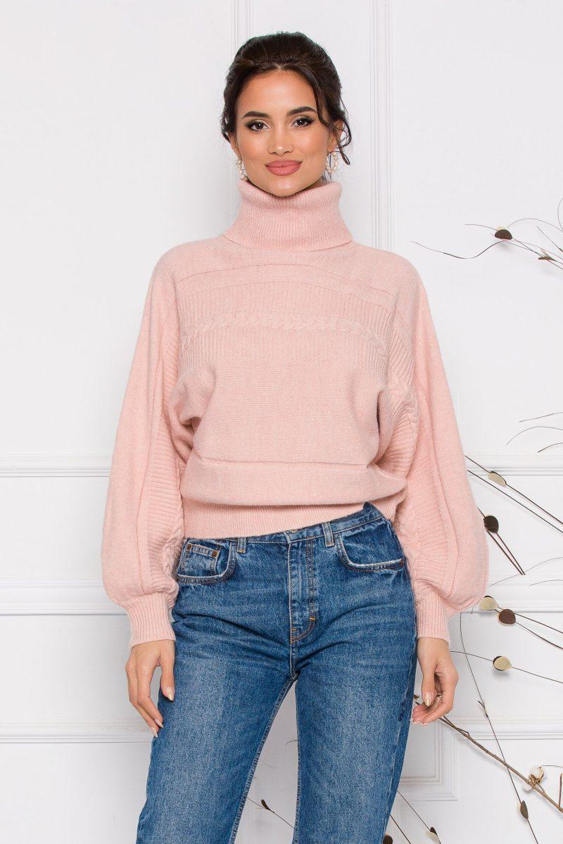 Pulover Dory scurt roz din tricot cu guler inalt