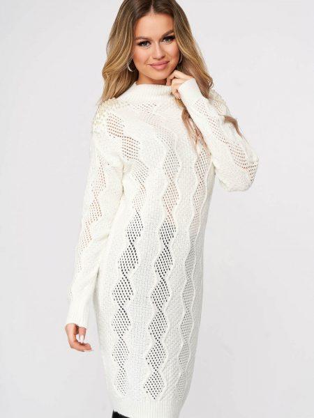 Pulover  alb lunga tricotat cu croi larg cu aplicatii cu perle