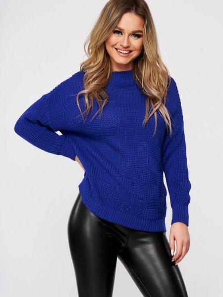 Pulover  albastru casual tricotat cu cusaturi in material cu croi larg