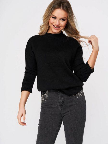 Pulover  negru casual cu croi larg din material tricotat