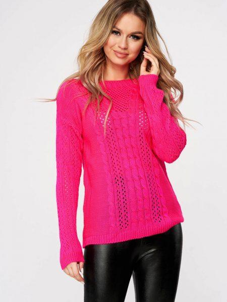 Pulover  roz casual tricotat cu croi larg si guler barcuta