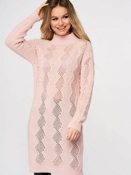 Pulover  roz deschis lunga tricotat cu croi larg cu aplicatii cu perle