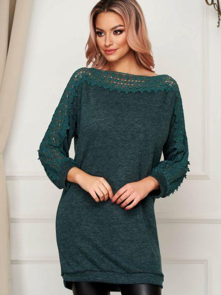 Pulover  verde-inchis casual lunga din material tricotat cu croi larg si insertii de broderie