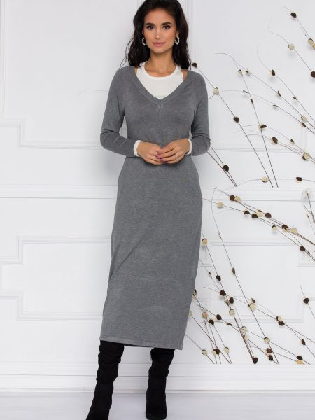 Rochie Lara din tricot gri cu decupaje la umeri