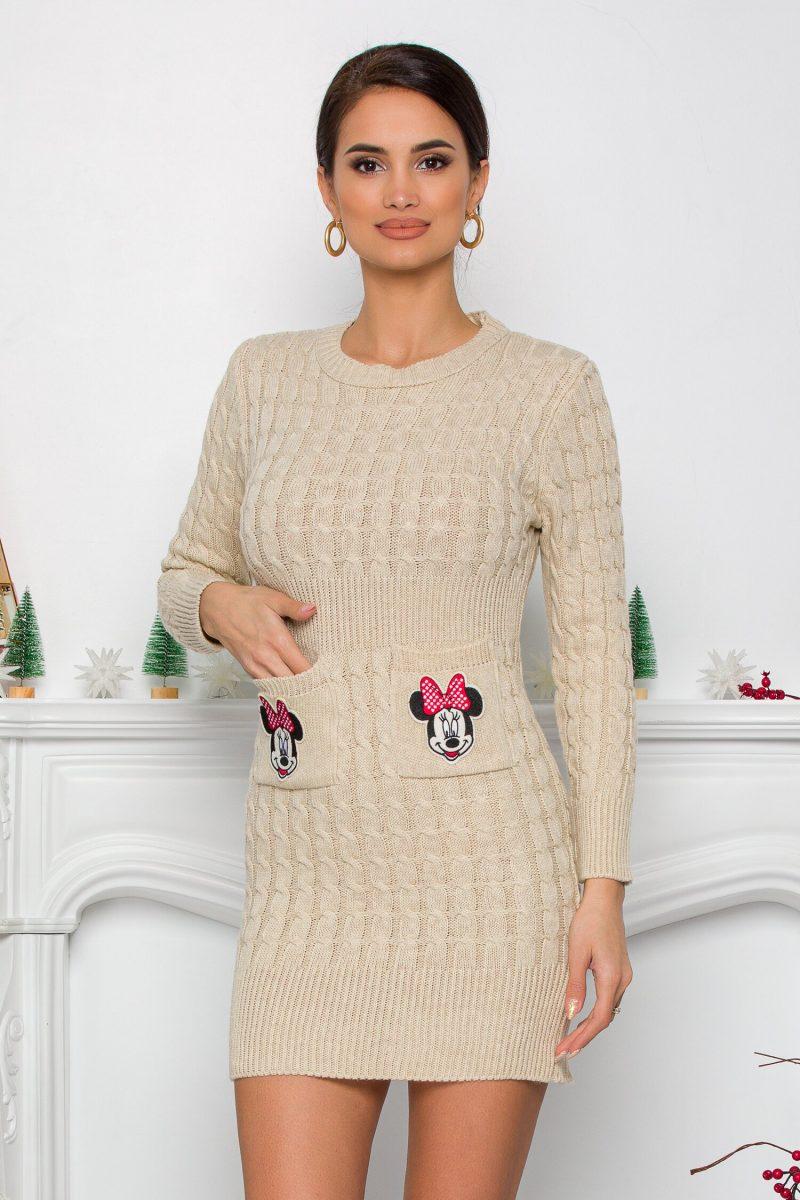 Rochie Minnie bej din tricot cu design impletit