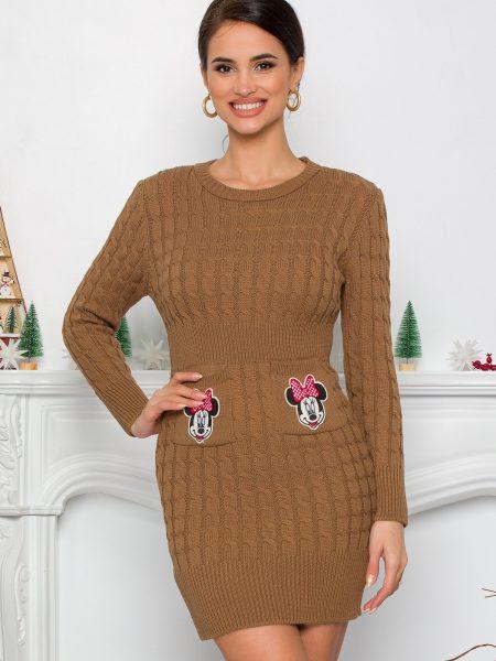 Rochie Minnie maro din tricot cu design impletit