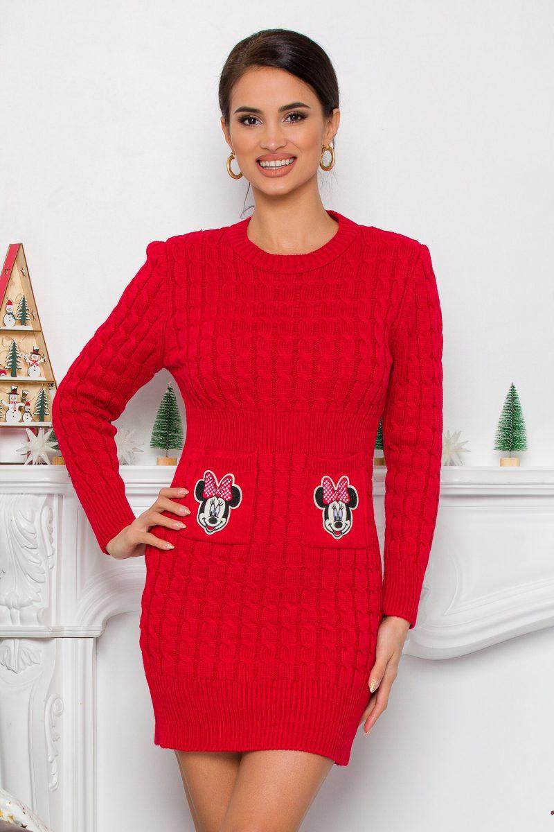 Rochie Minnie rosie din tricot cu design impletit