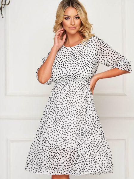 Rochie  alba de zi din voal clos cu elastic in talie cu buline