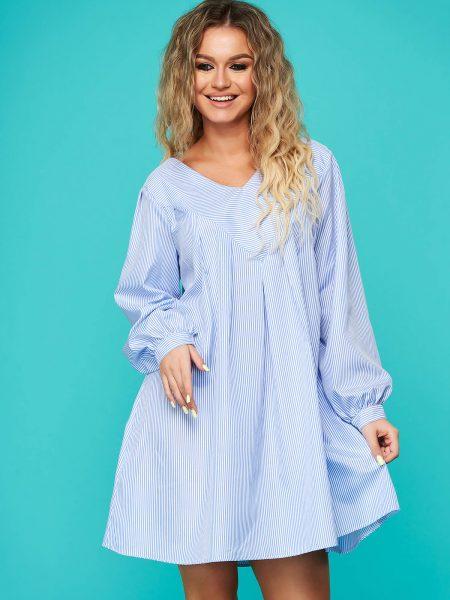 Rochie  albastra de zi scurta cu croi larg cu decolteu in v din bumbac neelastic