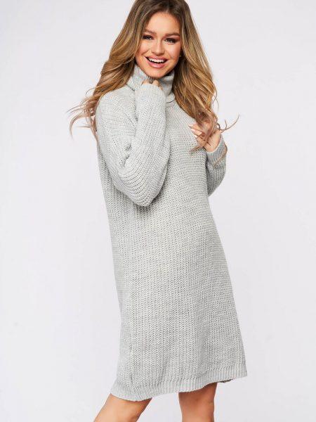 Rochie  casual gri din material tricotat pe gat cu croi larg
