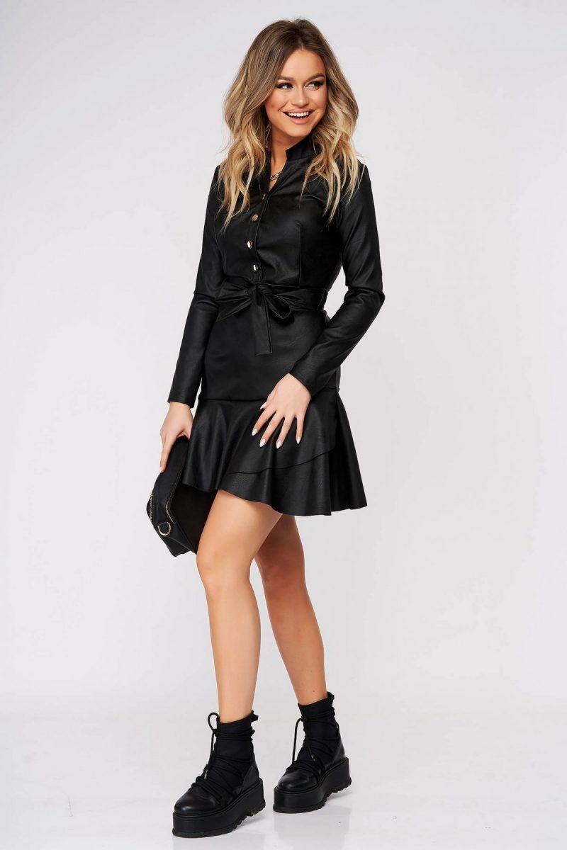Rochie din piele ecologica neagra de zi in clos cu volanase la baza rochiei si accesorizata cu cordon -