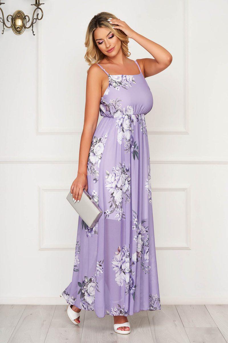 Rochie  lila lunga de zi fara maneci din material subtire in clos -