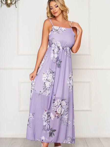 Rochie  lila lunga de zi fara maneci din material subtire in clos
