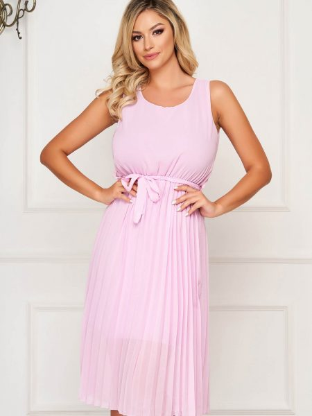Rochie  lila midi plisata de zi in clos cu elastic in talie fara maneci