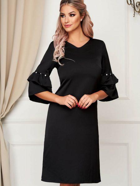 Rochie  neagra eleganta cu croi in a cu maneci clopot cu aplicatii cu perle