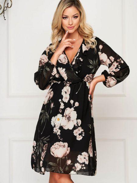 Rochie  neagra eleganta cu decolteu in v cu maneca 3/4 clos cu elastic in talie din voal