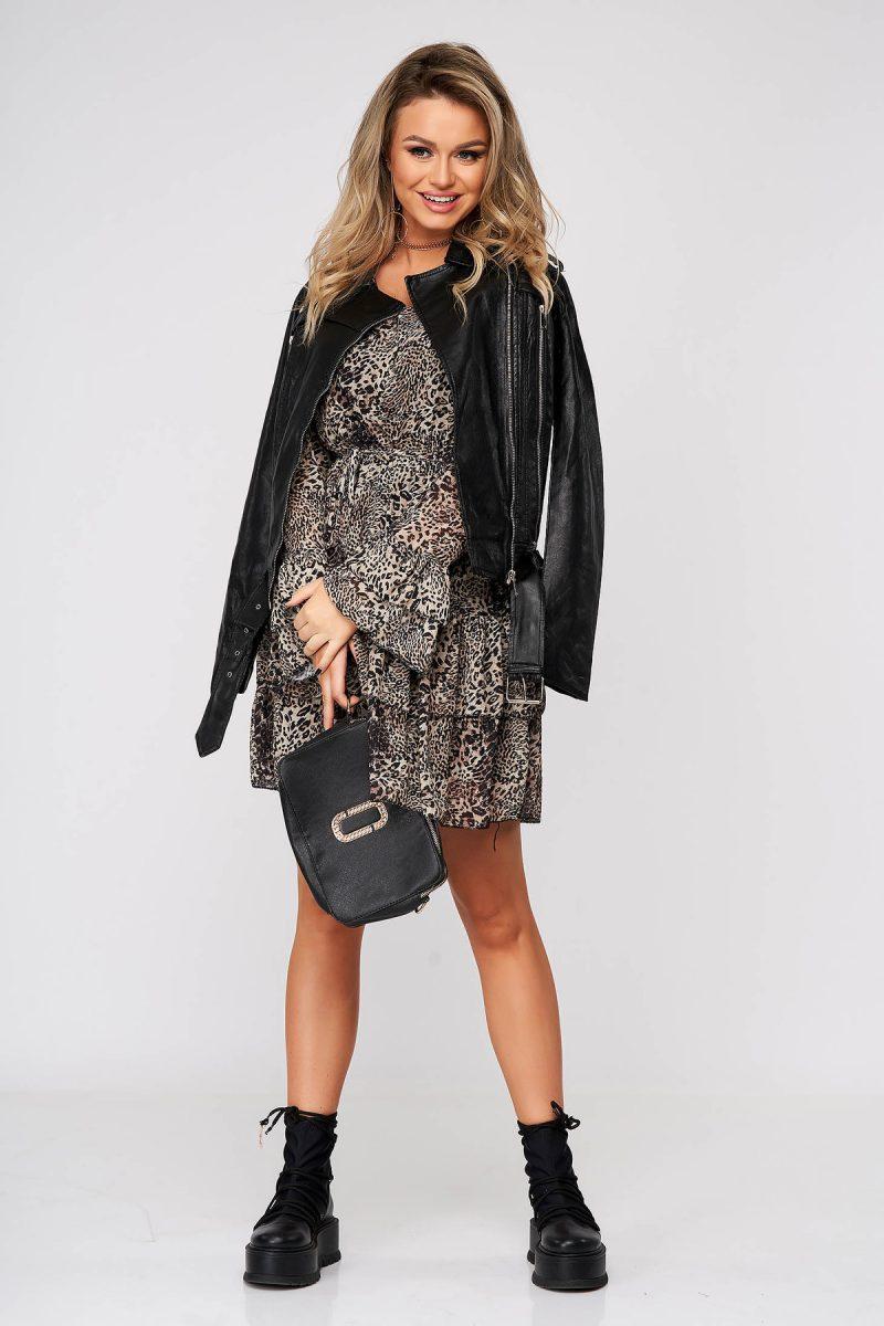 Rochie neagra scurta de zi din voal cu maneci clopot si elastic in talie -