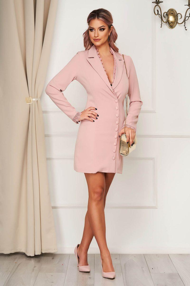 Rochie roz prafuit eleganta scurta din stofa tip sacou cu insertii de broderie -