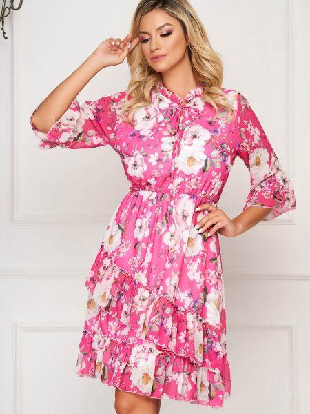 Rochie  roz scurta de zi din voal in clos cu elastic in talie si volanase