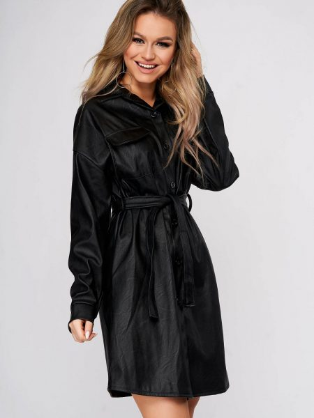 Rochie tip camasa  din piele ecologica neagra scurta casual