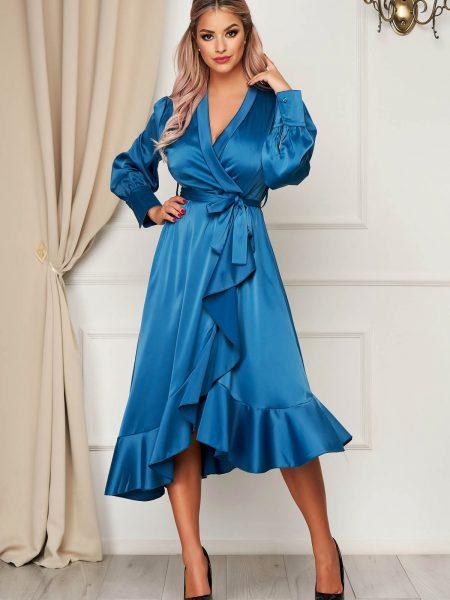 Rochie  turcoaz eleganta in clos decolteu petrecut din material satinat cu volanase la baza rochiei accesorizata cu cordon