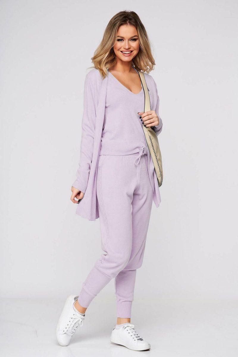 Trening dama lila casual din material tricotat cu cardigan -