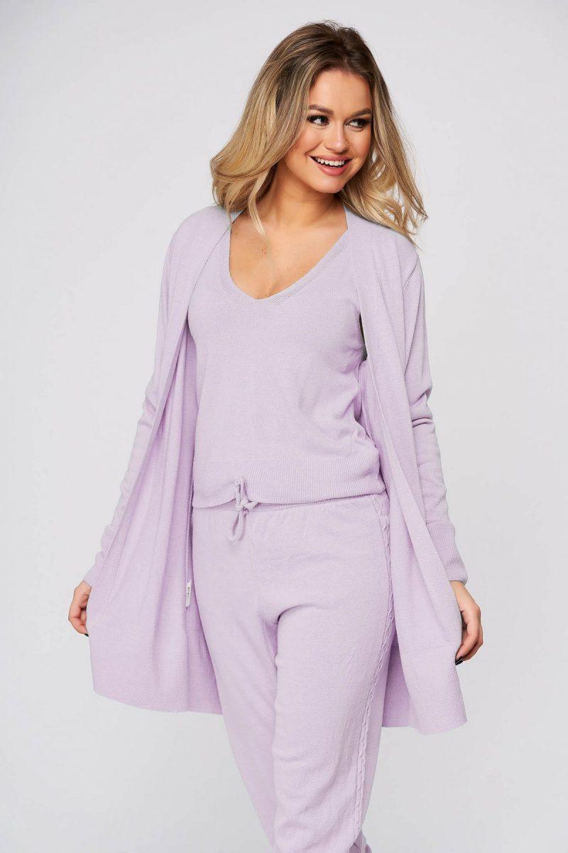 Trening dama  lila casual din material tricotat cu cardigan