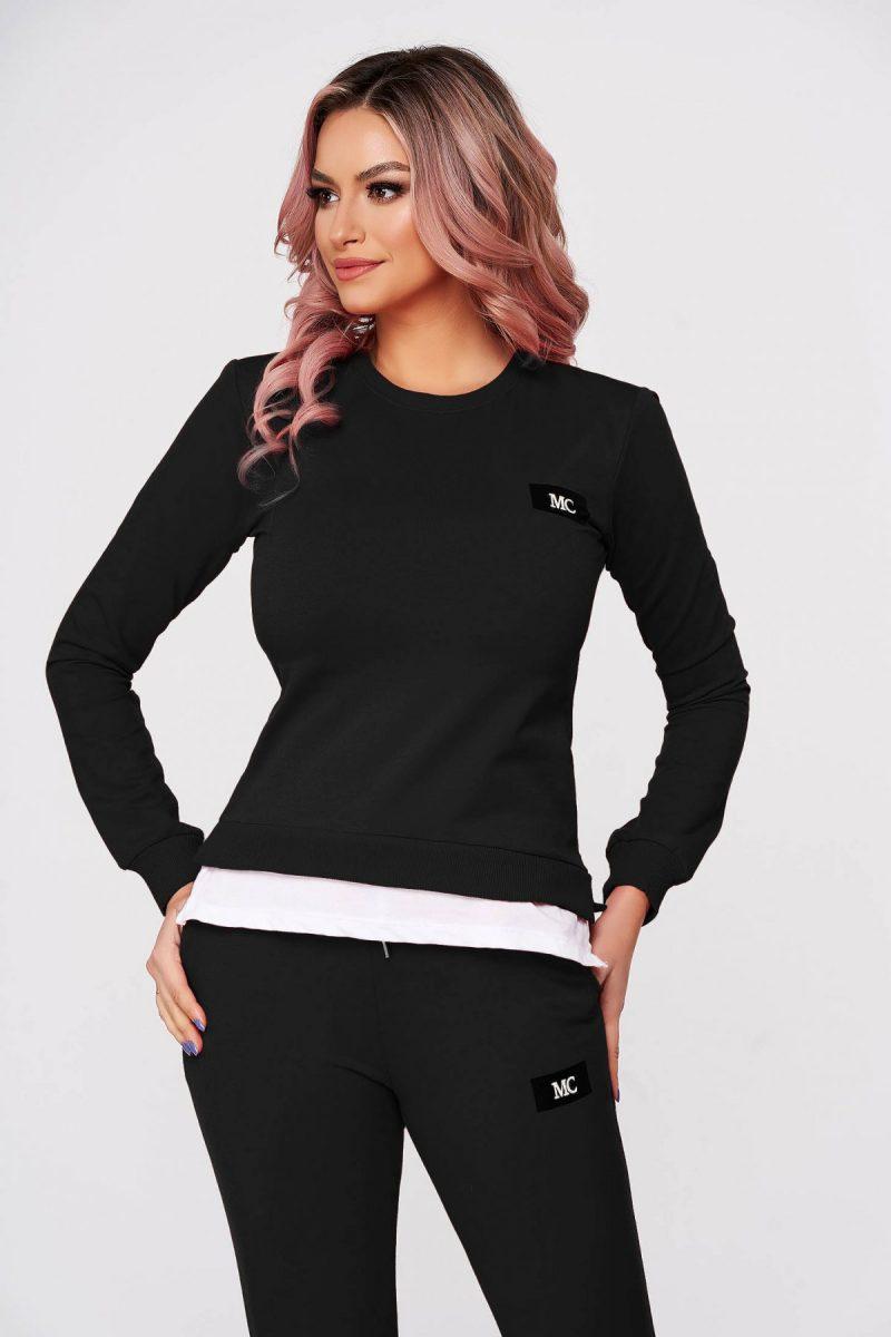Trening dama  negru din 2 piese cu pantalon din bumbac usor elastic cu croi larg si slit lateral
