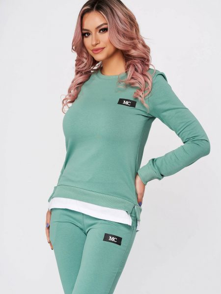 Trening dama  verzi din 2 piese cu pantalon din bumbac usor elastic cu croi larg si slit lateral